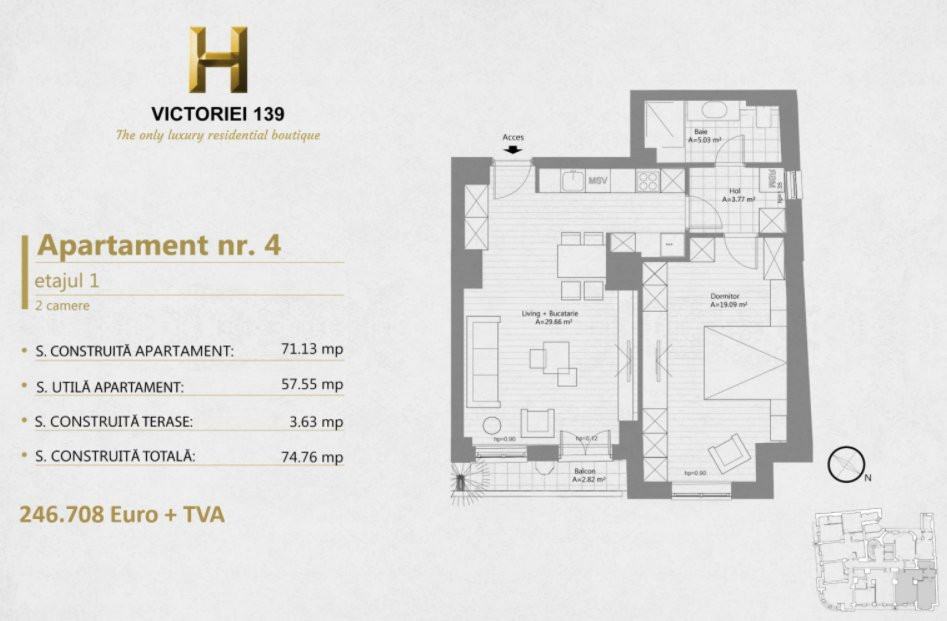 H Victoriei 139 - Apartament superb de 2 camere pe Calea Victoriei 12