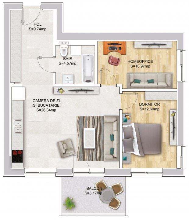 Apartament cu 2 Camere + Office in Nordul Capitalei - Luxuria Residence 17